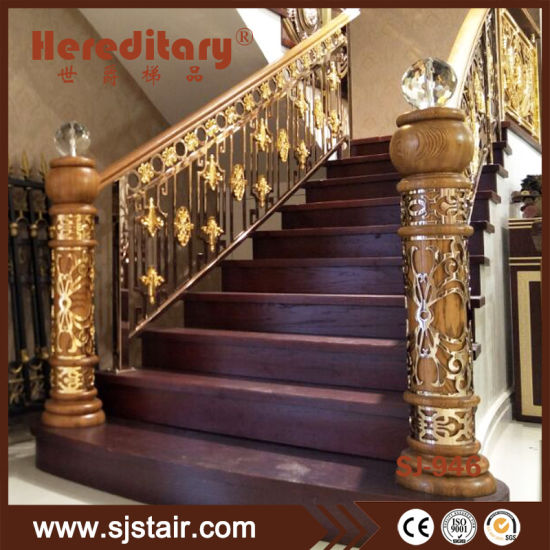Stainless Steel And Decorative Crystal Ball Wooden Newel Post Pillar