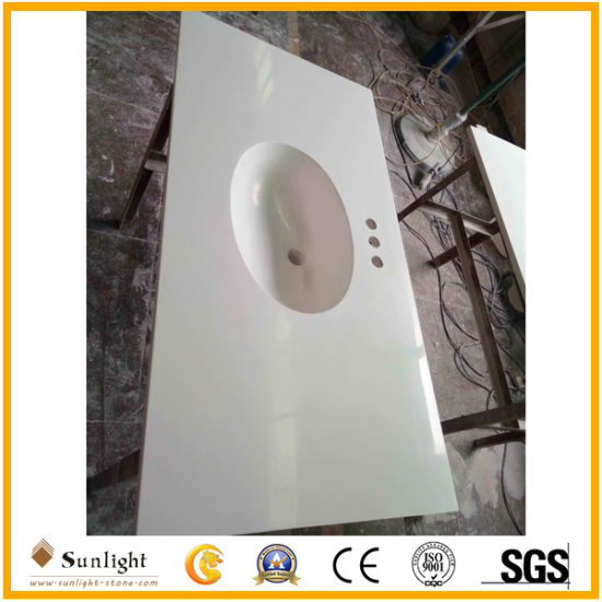 Highly Polished White Cast Marble Cultured Marble Countertops for Kitchen, Bathroom