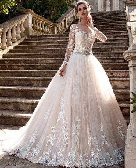 O-Neck Lace Beading Wedding Dress Long Sleeves Ruffle Bridal Gowns