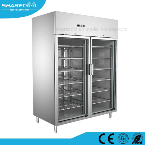 China Commercial Upright Stainless Steel Refrigerator With Glass
