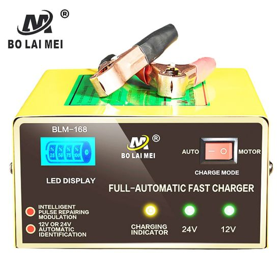 12 V/24 V 250 W Car Motorcycle Fully Automatic Lead Acid Battery Charger for 6-200 Ah Battery