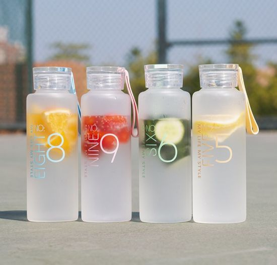 450ml BPA-Free Eco Friendly Summer Sport Drinking Glass Water Bottle Round Shape with Silicone Rope Leakproof Seal Frosted Glass Screen Printing for Kids