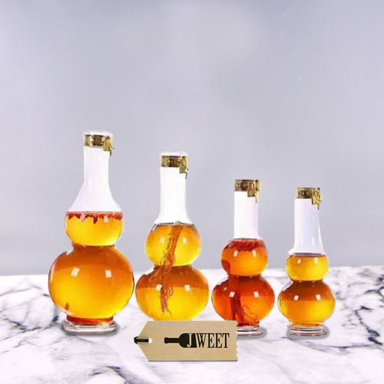 Crystal Gourd Shape Ginseng Glass Wine Bottle for Sale