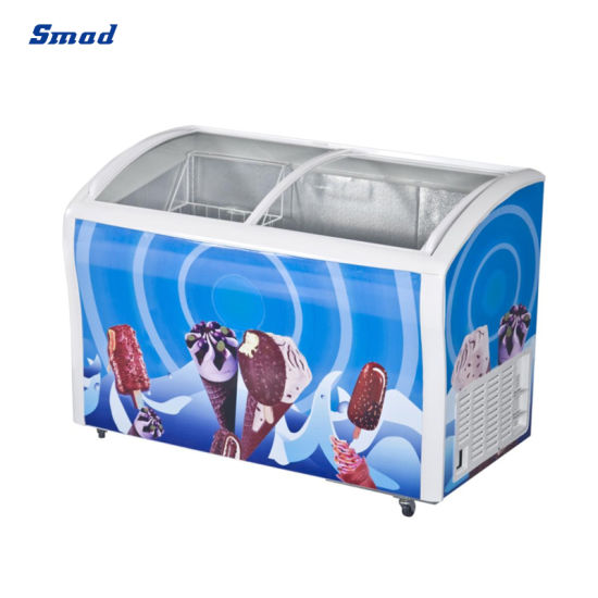 Commercial 458L Curved Sliding Glass Door Ice Cream Showcase Freezer