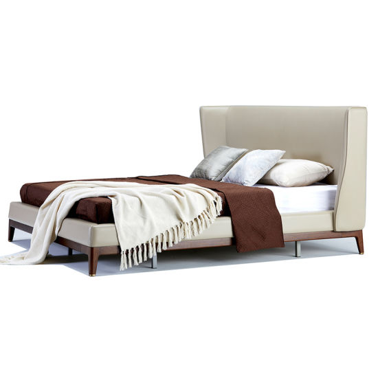 Modern Leather Bed King Size Bed with Wingback Headboard pictures & photos