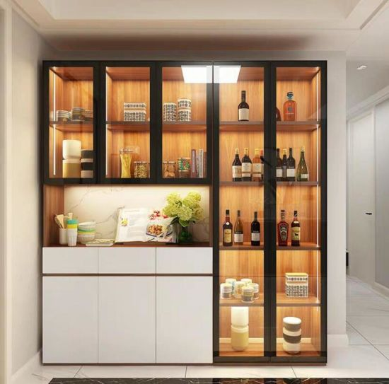 China Modern Luxury Style Home Furniture Glass Door Cabinet Kitchen Wine Cabinet China Furniture Home Furniture