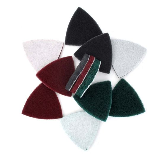 90X90X90mm Triangular Hook and Loop Industrial Heavy Duty Nylon Cleaning Cloth Scouring Pad