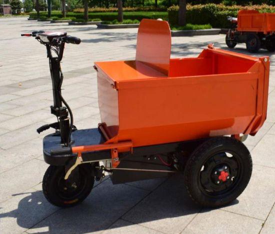 Orange Mini Dumper 1000 Kg Electric Trolley Tractor