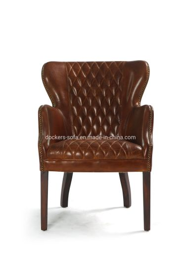 China High Quality Vintage Dark Brown Leather Restaurant Dining Room Chair Living Room Chair China Home Furniture Hotel Furniture