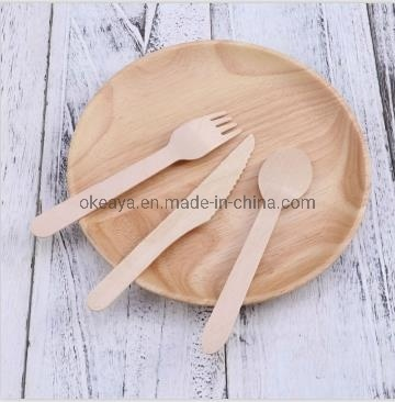 Disposable Eco-Friendly Wood Cutlery Soup Spoon Knife Fork