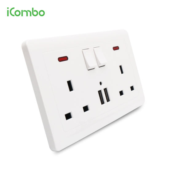 2 x USB Double Wall Socket Switched 2 Gang Faceplate 13A with 2 USB Outlet Ports