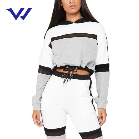 Two Piece Track Suit Women Hooded Tracksuit Cotton Training Suit Fitted Tracksuit