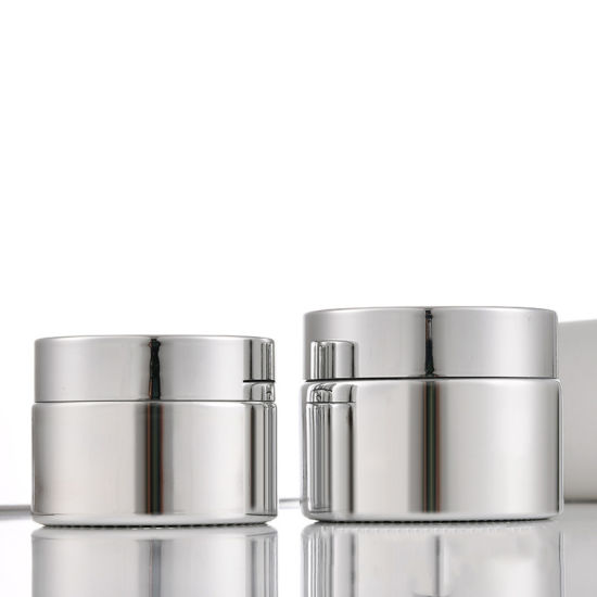 Luxury UV Plated Silver Glass Jar 5g 10g 15g 20g Cosmetic Package Jar 30g 50g Skin Care Glass Bottles with Round Caps