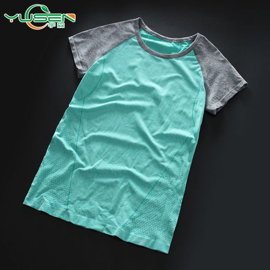 Dry Quick Short Sleeve Gym T Shirt Women′s Sport Running Tshirt pictures & photos