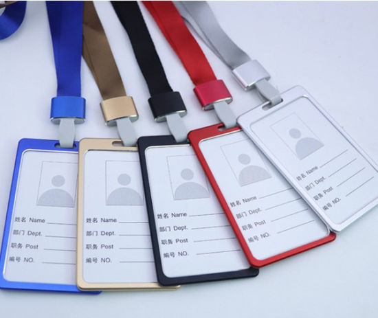 Aluminum Alloy Metal ID Card Badge Holder with Colorful Lanyard