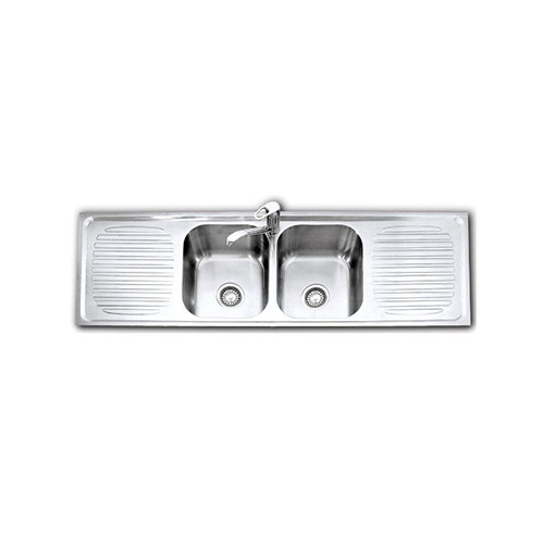 Wall-Mounted Double Bowl Double Drain Kitchen Sink