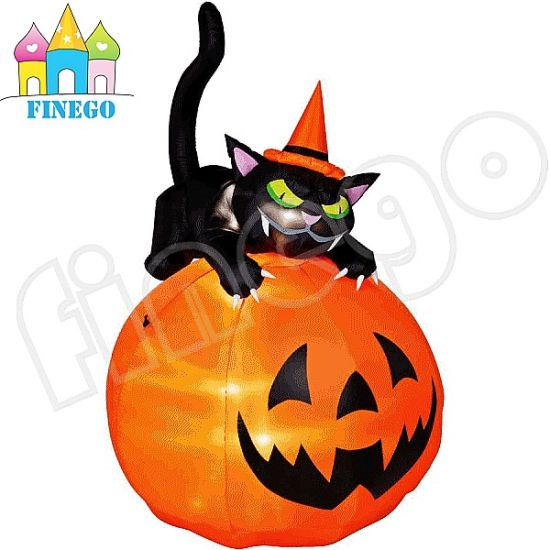 Newly Halloween Decoration Inflatable Pumpkin With Black Cat