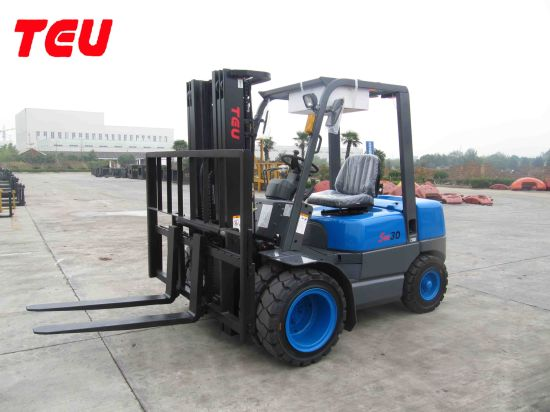 China Teu 3000kg/3ton Automatic Diesel Power Hydraulic Tcm Technology Container Isuzu Engine Electronic Shift Forklifts