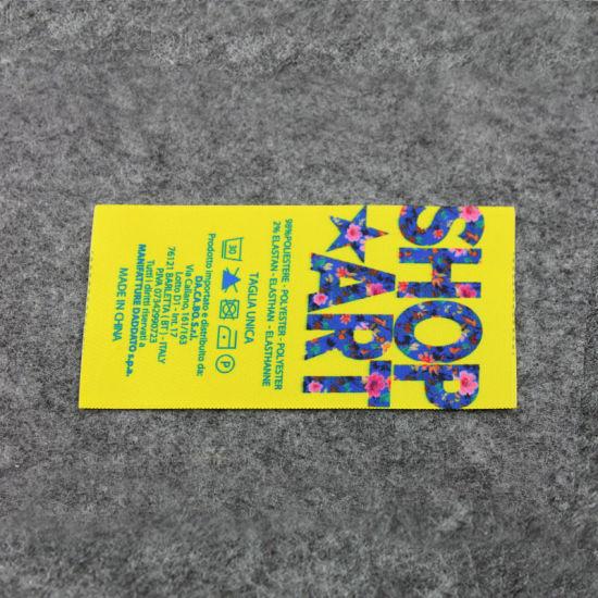 China Yellow Heat Transfer Print Nice Pattern Care Instruction Label