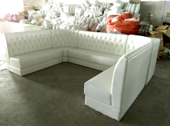 Customized U Shape Restaurant Sofa Booth Seating In White Vinyl Leather