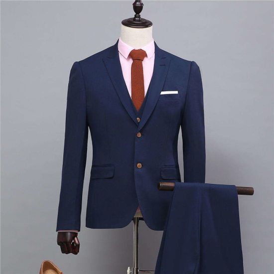 2017 New Model Customized Two Buttons Navy Blue Mans Formal Wear for Parties Tuxedos (Coat+Pants+Vest) Ms02 Slim Fit Mans Suits Mens Wedding Suits