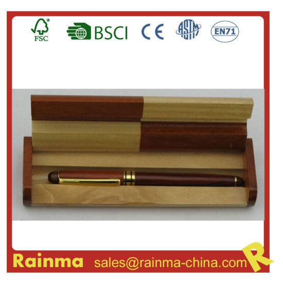 Metal Wooden Fountain Pen in Wooden Gift Box for Stationery and Gift