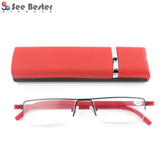 Metal Stainless Steel Fashion Half Rim Reading Glasses with Tr90 Temples and Case pictures & photos