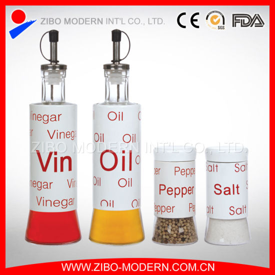 Glass Oil and Vinegar Bottles Wholesale with Screen Printing pictures & photos