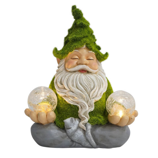 Outdoor Decor Waterproof Artificial Moss Finished Sitting Meditating Gnome Statue with Solar Light