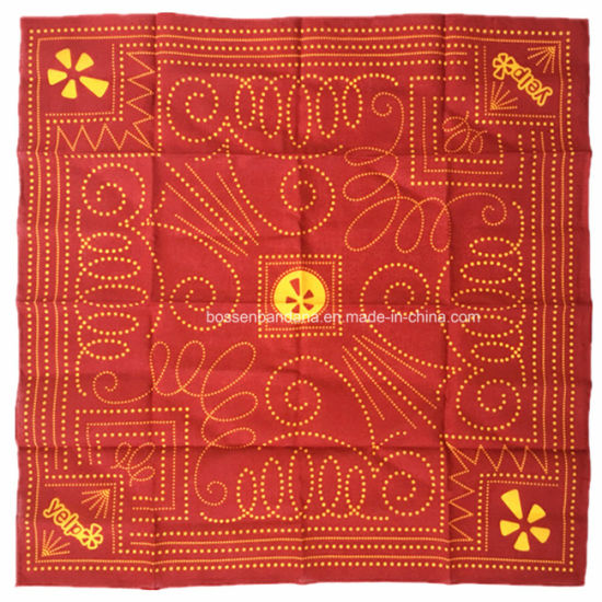 China Factory OEM Produce Customized Logo Fullover Printed Red Cotton Bandana Scarf pictures & photos