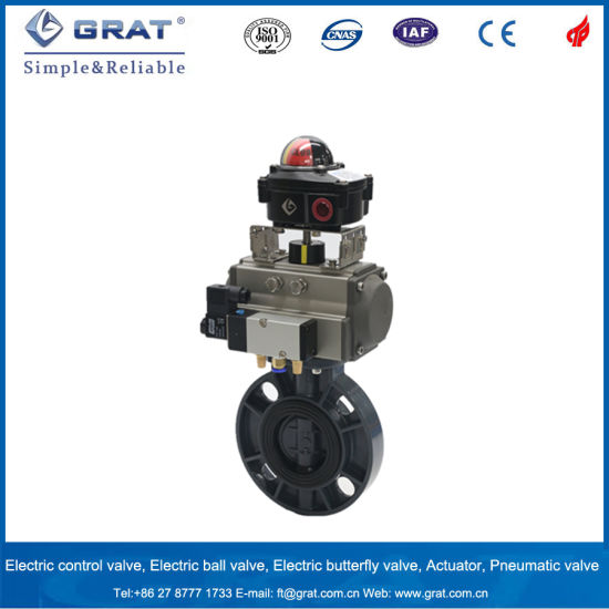 Pneumatic Butterfly PVC Flow Control Valve with Solenoid Valve