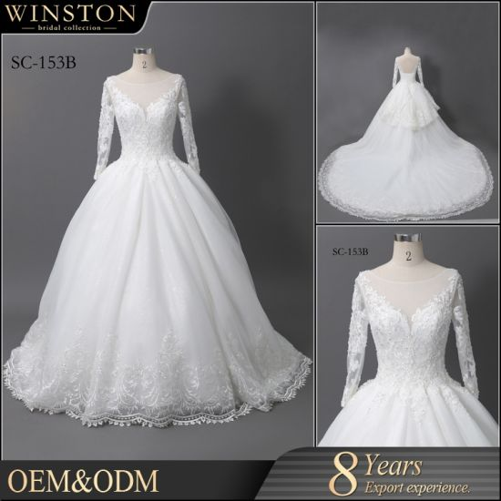 China Best Selling Pictures of Latest Gowns Designs, White Lace V ...
