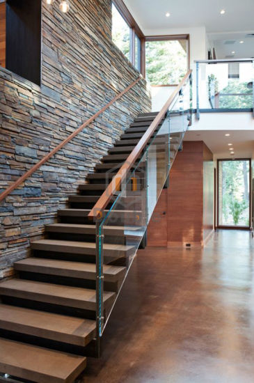 Indoor Decorate Wood Handrail Gl Railing Wooden Steps Staircase Pictures Photos