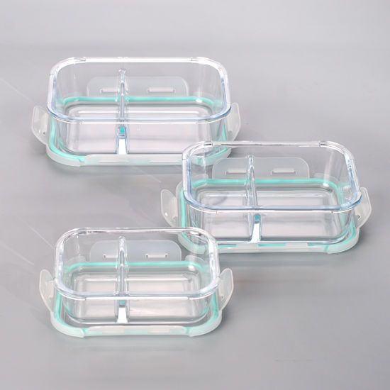 2 Divider High Resistant Glass Meal Prep Container With Snap Lock Lid
