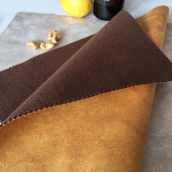 China Microfiber Suede Upholstery Fabric With Brown Design China
