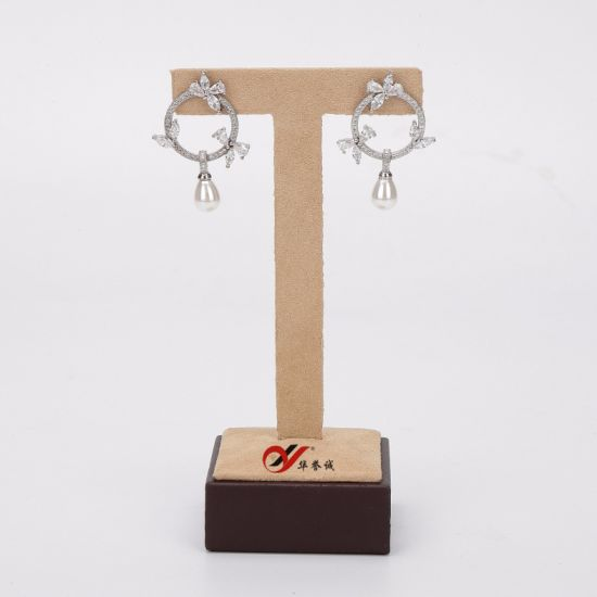 Microfiber with PU Leather T Shape Earring Display Stand