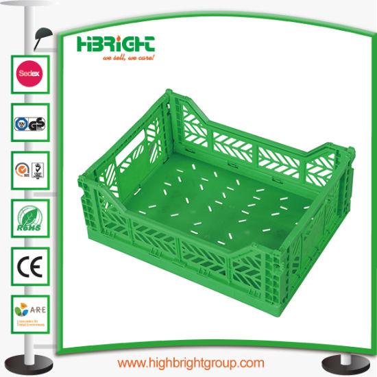 China Hyper Market Black Folding Stacking Vegetable Crate
