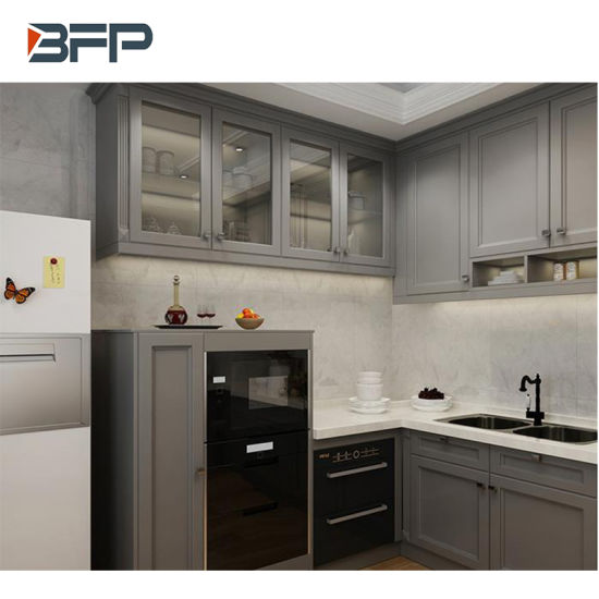 China Solid Wood Raise Panel Light Grey Kitchen Cabinet For Apartment China Furniture Home Furniture