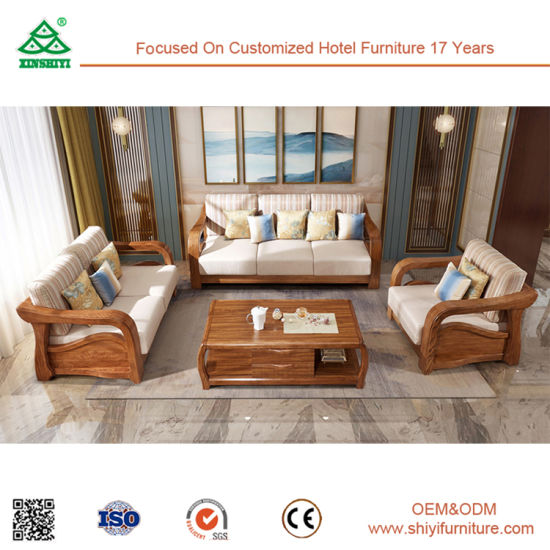 Latest Wooden Living Room Furniture Fabric Sofa Sets 2017 New Design