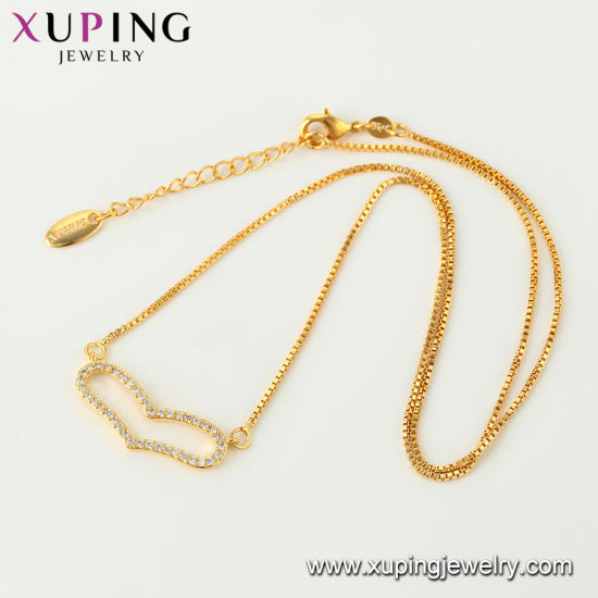44435 Xuping Fashion Rose Gold Color Necklace pictures & photos