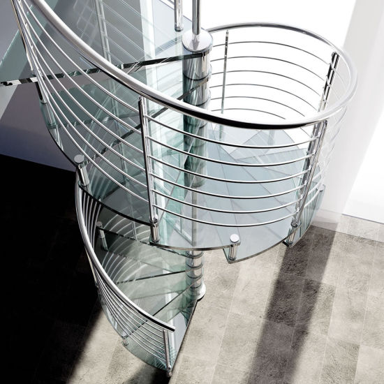 Indoor Modern Design Spiral Staircase With Stainless Steel Stair Railing