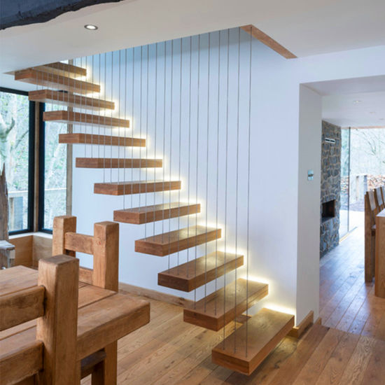Construction Building Home Timber Floating Staircase Designs