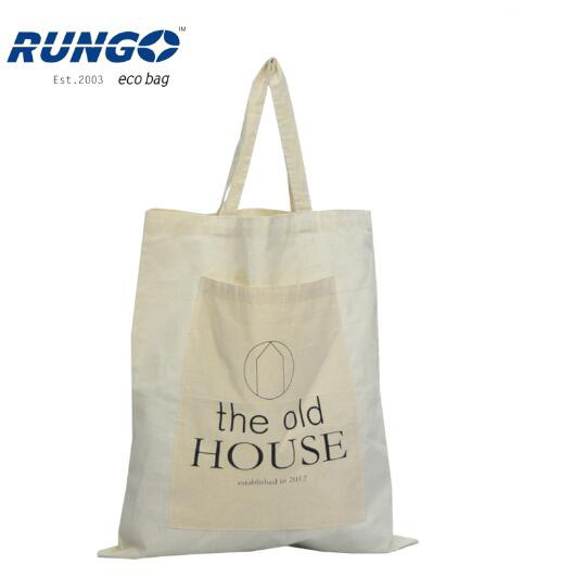 Personalized Natural 100% Cotton Cloth Bag with Pocket Inside