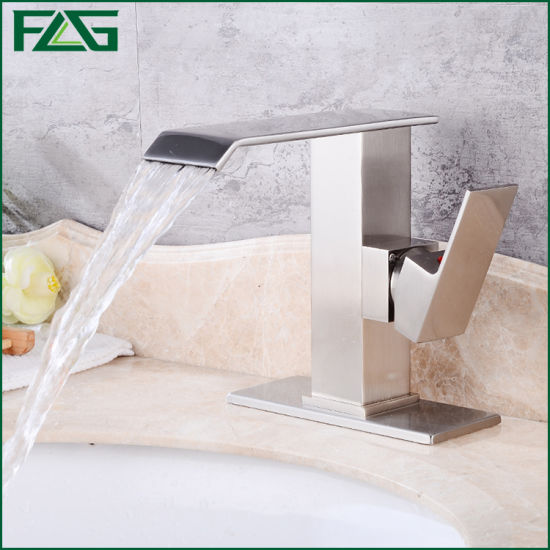 Flg Brushed Nickle Bathroom/Kitchen/Sanitary Ware Waterfall Tap/Faucet