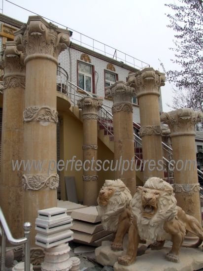 Natural Classic Carved Pillars Antique Cantera Stone Columns for Garden Home Decorative (QCM257)