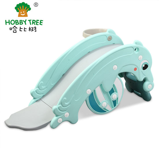 New Colorful Children Small Dolphins Theme Indoor Kids Plastic Slide and Rocking Horse Rider pictures & photos