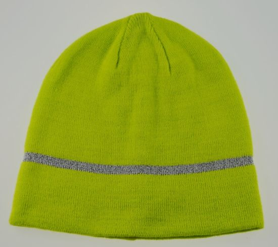 Double-Layers Winter Warmer Acrylic Beanie Hat with Reflective Strip