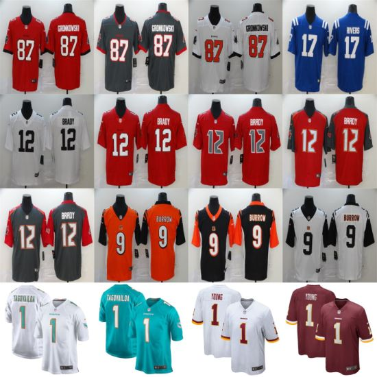 2020 N-F-L Draft Brady Gronkowski Burrow Tagovailoa Young Rivers Football Jerseys