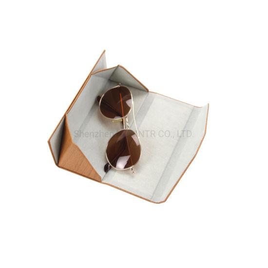 Folding Glasses Case Custom Printing Logo PU Protective Sunglasses Folding Case