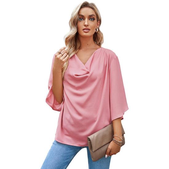 Shangyan Womens Summer Solid Chiffon Flared Sleeve V Neck Minimalist Top T-Shirt